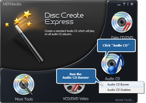 Choose Audio CD Burner