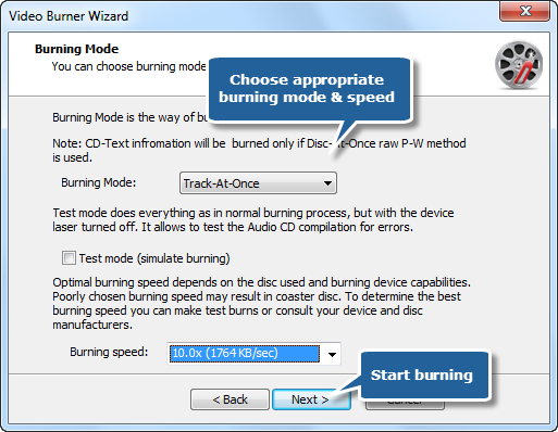 Choose Burning Mode and Speed