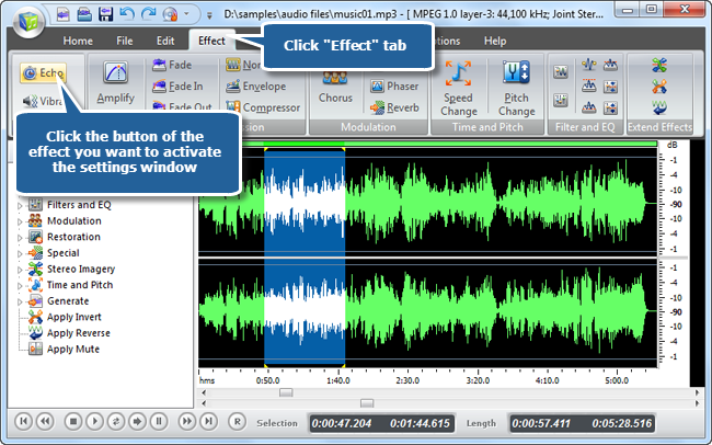 Add some effects to the audio files