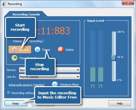 Start recording music from your radio